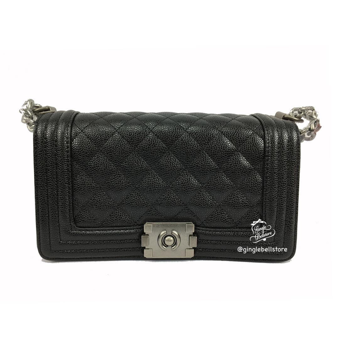 """กระเป๋า CC Boy ขนาด 8"""" (20cm) สีดำ หนังPU"""