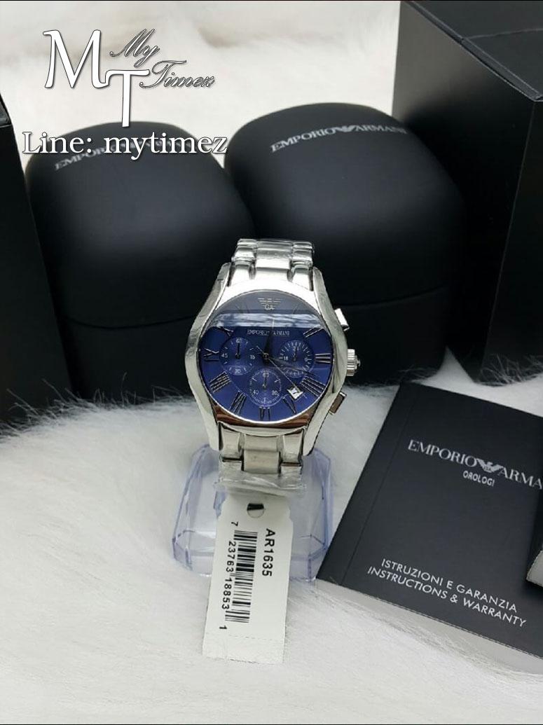 นาฬิกาข้อมือ Emporio Armani Men's Classic Chronograph Blue Dial Stainless Steel AR1635