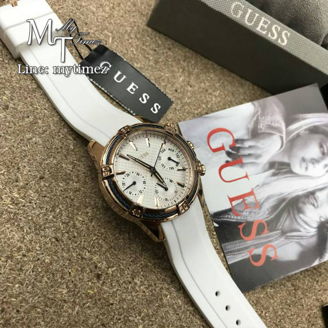 Guess W0562L1 36 mm Gold Plated Stainless Steel Case White Silicone Mineral Women's Watch