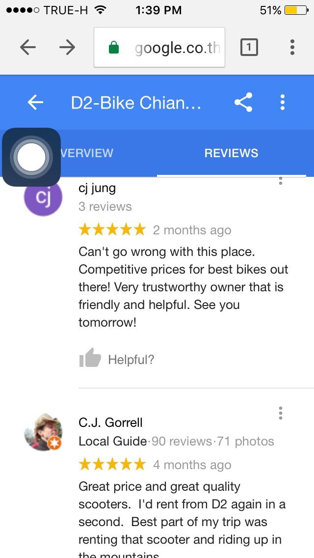 เช่ามอไซด์ เชียงใหม่ ราคาถูก D2-Bike Chiang Mai Motorbike