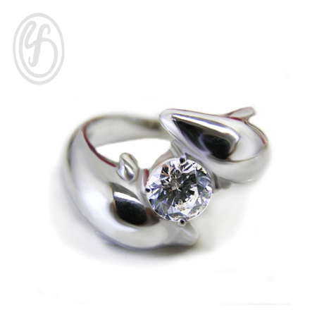 แหวนปลาโลมมาคู่รัก แหวนเงินผู้ชาย เงินแท้ ฝังเพชรสังเคราะห์ cz เกรด AAA เหมาะเป็นของขวัญในวันพิเศษ แหวนหมั้น แหวนแต่งงาน