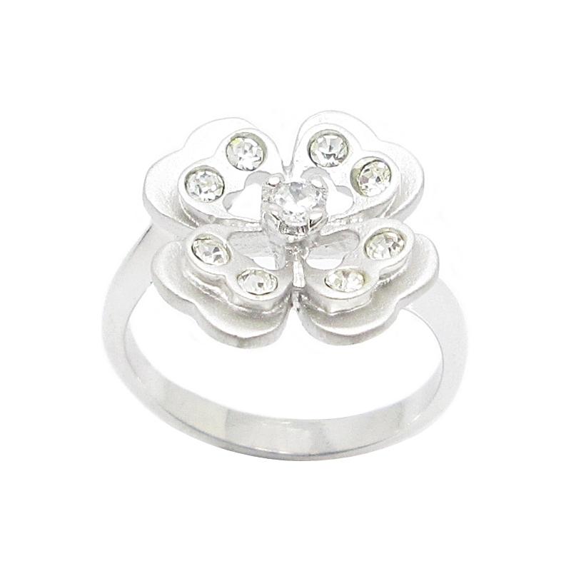 แหวนดอกไม้พ่นทรายประดับเพชรและคริสตัลชุบทองคำขาว