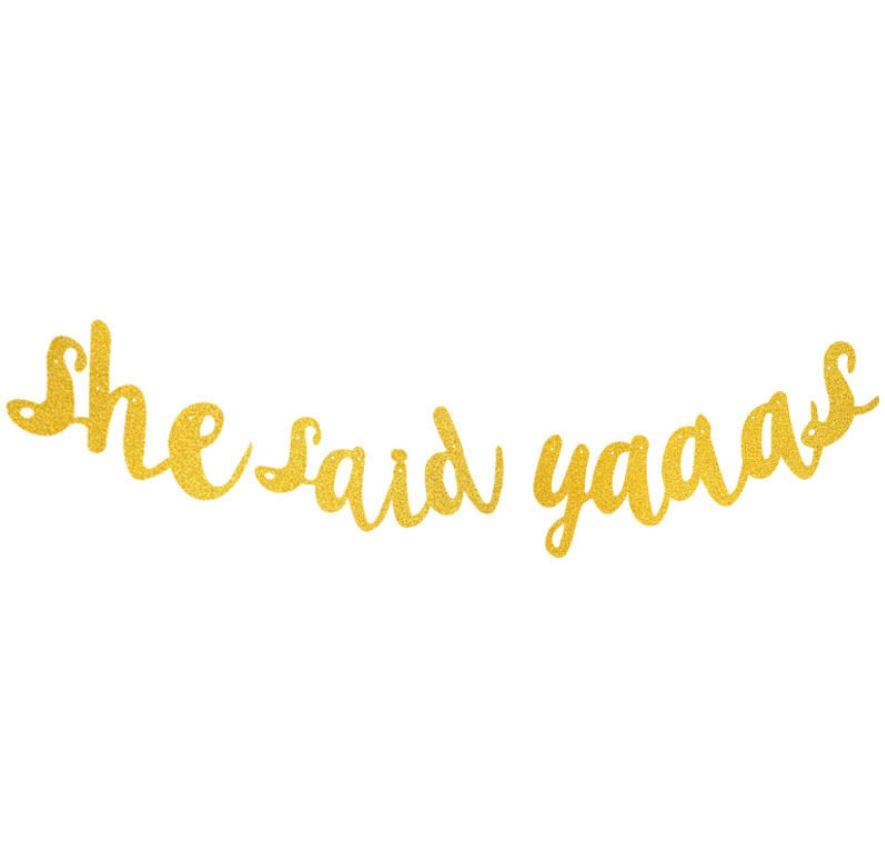 SHE SAID YAASS Handwriting Glitter Flag (Gold)