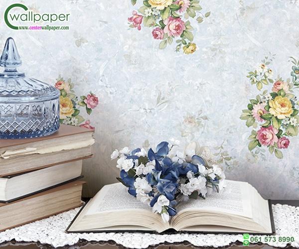 วอลเปเปอร์ติดผนังลายดอกไม้วินเทจพื้นสีฟ้า