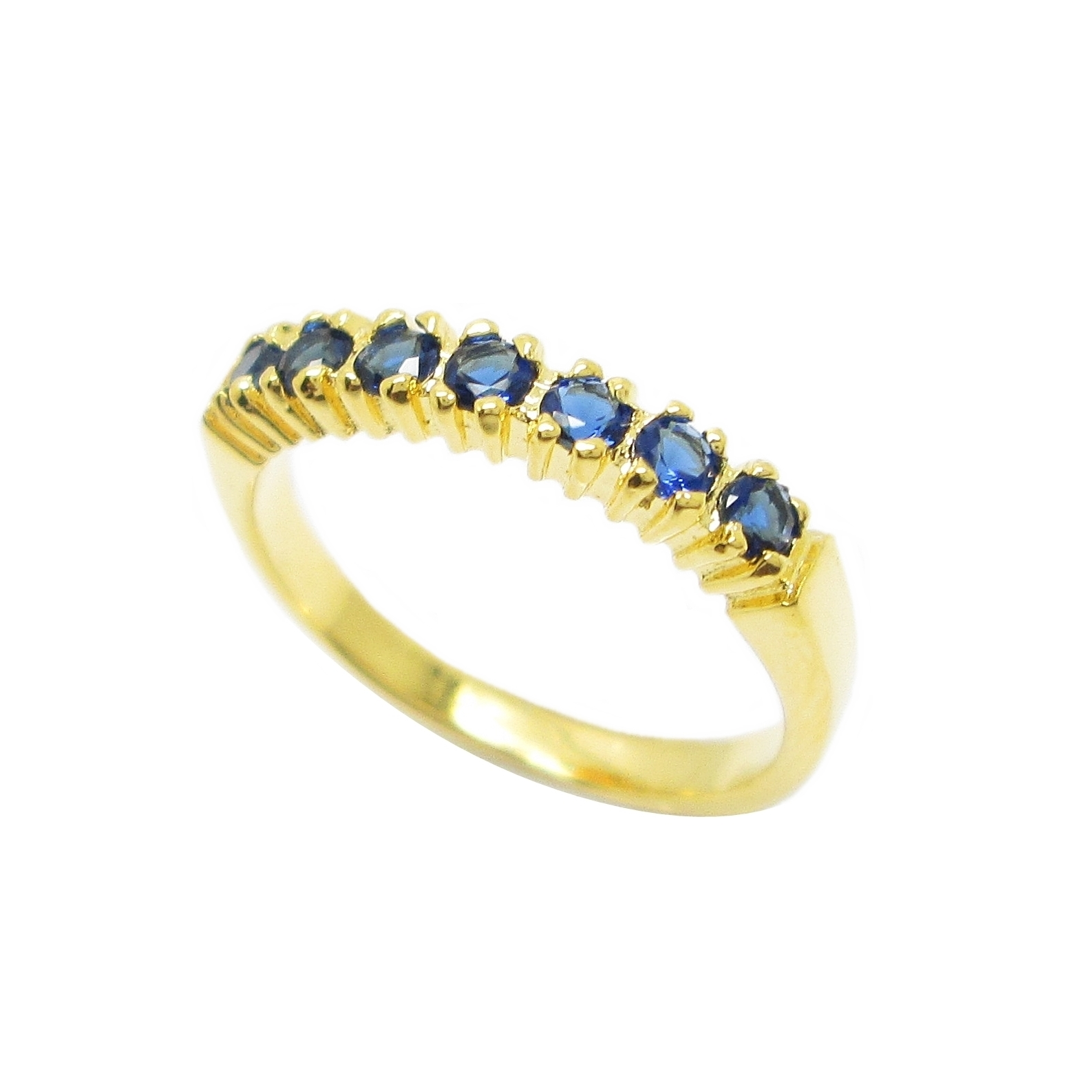 แหวนแถวประดับพลอยไพลินชุบทอง