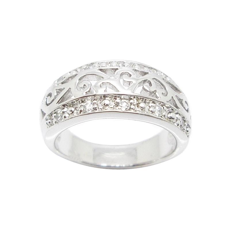 แหวนแถวลายฉลุประดับเพชรชุบทองคำขาว