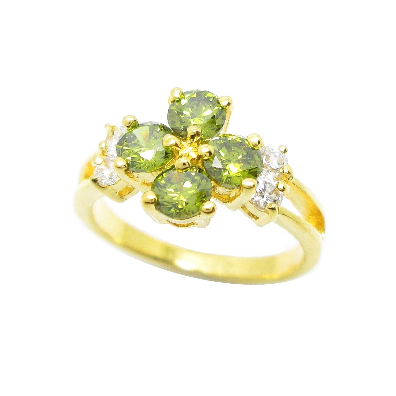 แหวนดอกไม้พลอยสีเขียวส่องประดับเพชรข้างชุบทอง