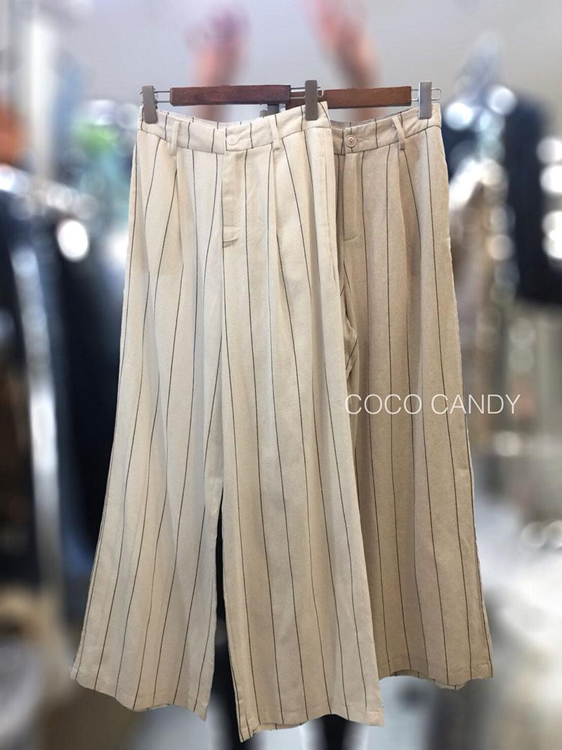 กางเกงแฟชั่น Linen Striped Wide-leg Pants สีครีม