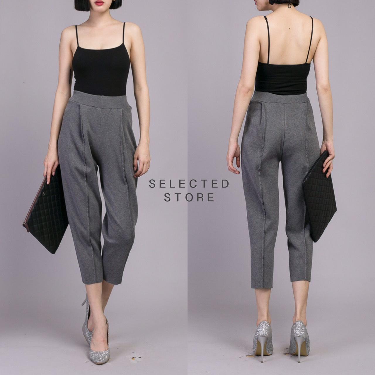 กางเกงขายาวแฟชั่นสีเทา
