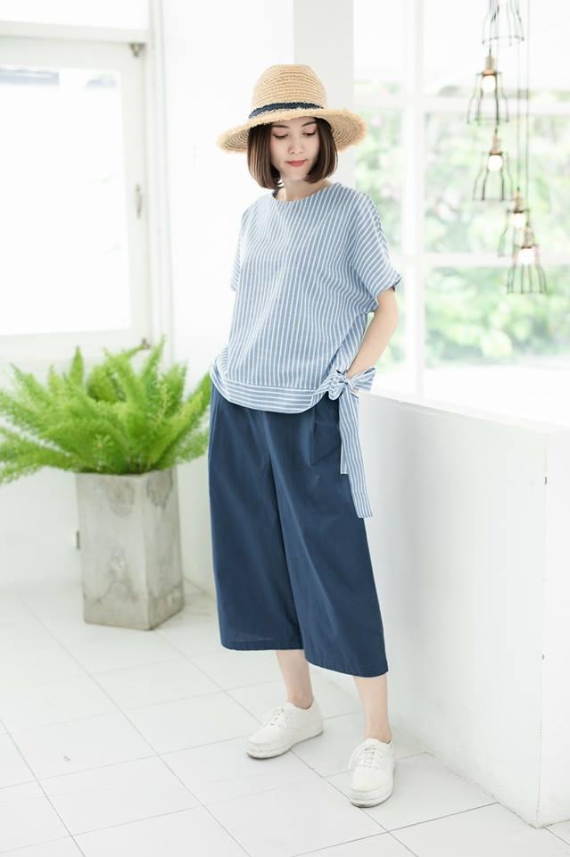 Devy Cotton Linen Top 👚_Blue Stripe
