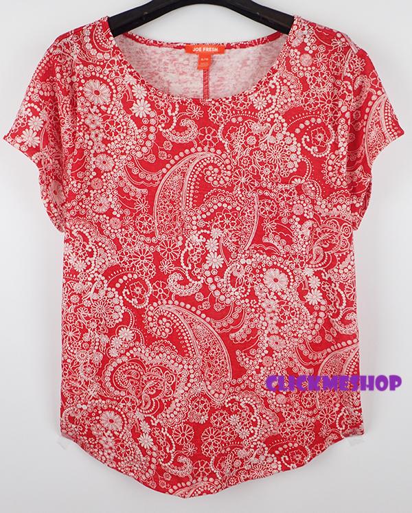 (ไซส์ XXL หน้าอก 46-48 ยาว 27 นิ้ว) เสื้อยืดสีแดงลายริ้ว ยี่ห้อ joe เนื้อผ้านิ่ม มีกระเป๋าที่อกทรงหลวม เนื้อผ้ายืดใส่สบายน่ารัก สำเนา