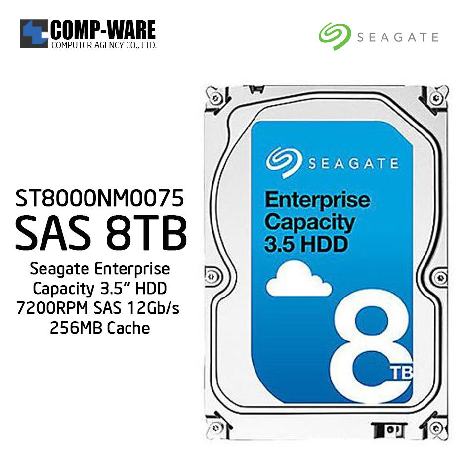 Seagate Enterprise Capacity 3.5'' HDD 8TB 7200RPM SAS 12Gb/s 256MB Cache Internal Hard Drive ST8000NM0075