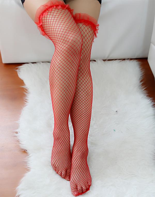 ถุงน่องผ้าแก้วสีแดง(5690) (ฟรีไซส์)