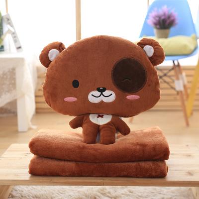 หมอนผ้าห่ม ลายเจ้าหมีน้อยหัวโต สีน้ำตาล