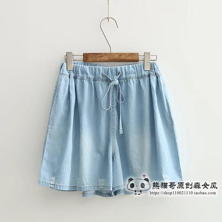 พร้อมส่ง กางเกงยีนส์ขาสั้นเนื้อผ้าเบาใส่สบาย ช่วงเอวผูกโบว์ปรับขนาดได้ค่ะ