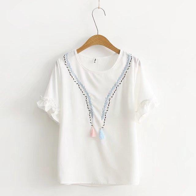 พร้อมส่ง เสื้อแขนสั้นสีขาวแต่งระบายสวยๆ แบบน่ารักค่ะ