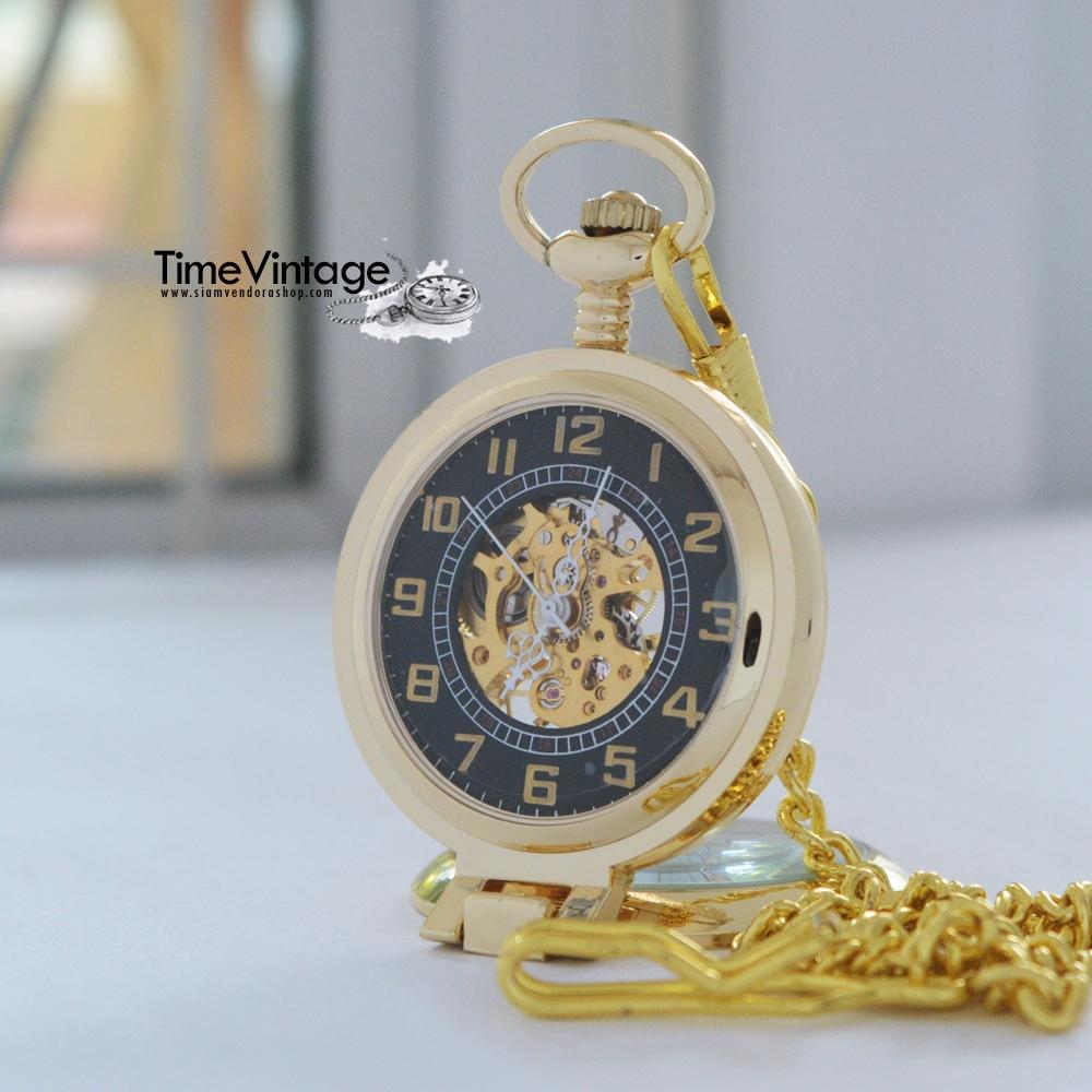 นาฬิกาพรีเมียมแบบพับตั้งและพกพาได้สีทอง ระบบกลไกไขลาน (พร้อมส่ง)