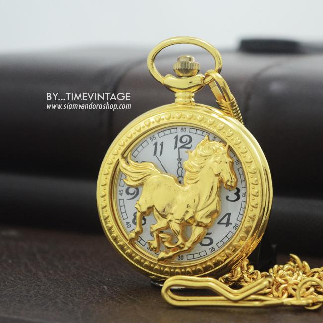 นาฬิกาลายคลลายฉลุม้ามงคลระบบถ่านควอทซ์ญี่ปุ่น ของขวัญมงคลม้าทอง