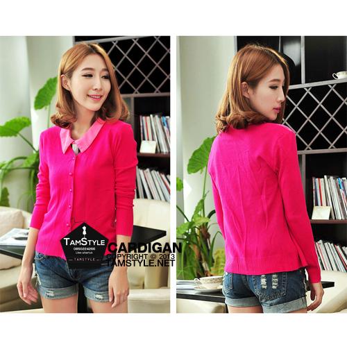 """Free-size เสื้อคลุมไหมพรมกระดุมมุก แขนยาว สีชมพูบานเย็น นิ่มใส่สบาย กันแดด กันลมสบายจ้า อก 35"""" ยาว 23 """" (เสื้อคลุมพร้อมส่ง)"""