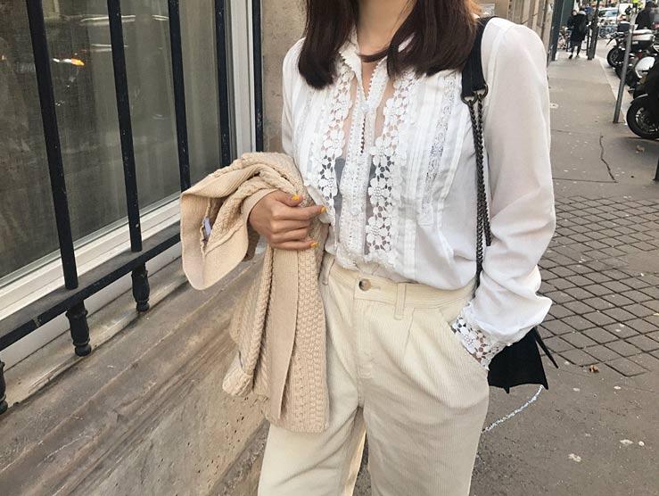 เสื้อเชิ้ตแขนยาว แต่งแถบลูกไม้ชีฟองสีขาว
