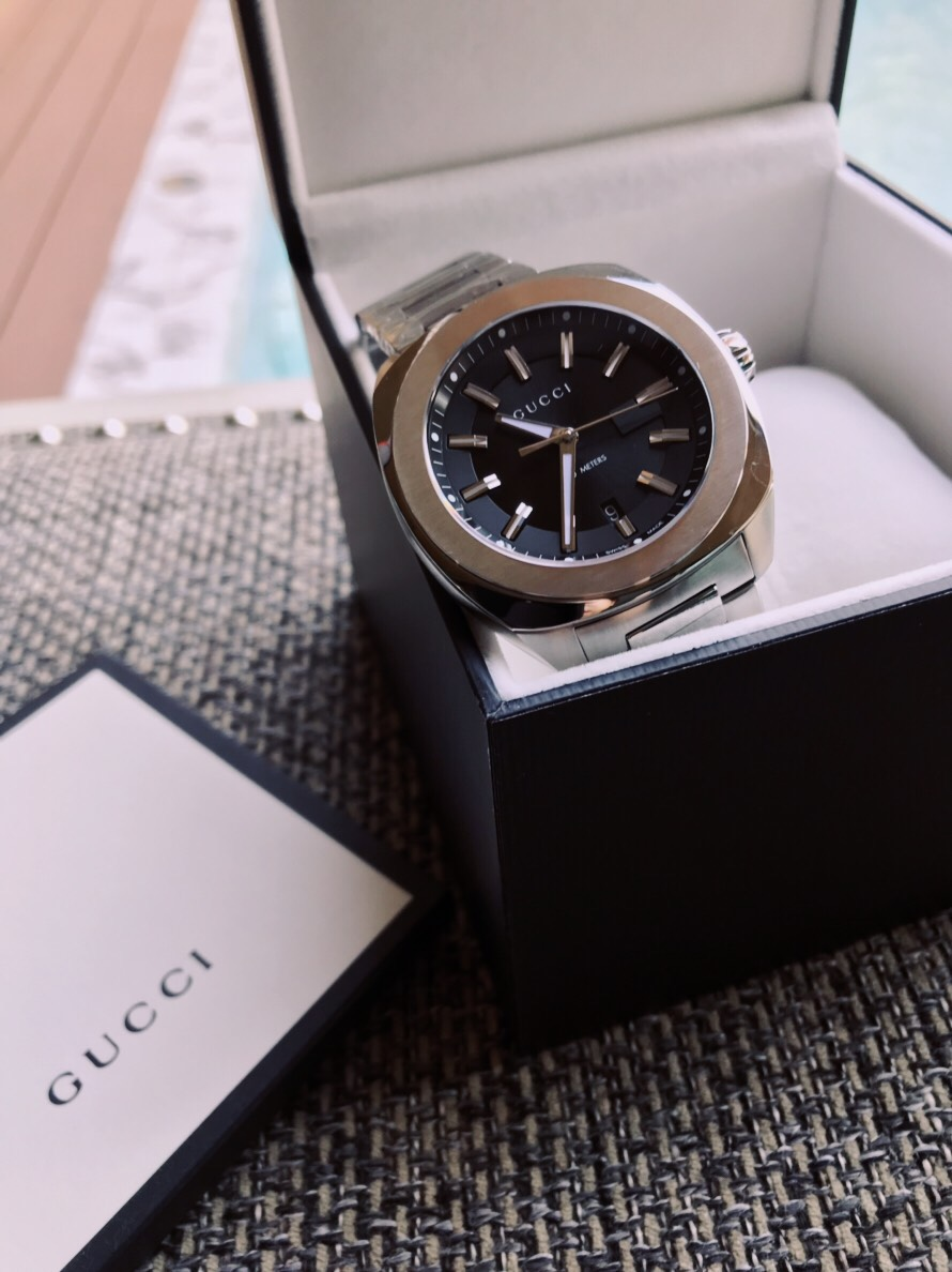 a2f399a967d Gucci GG2570 Xl Black Sun Brushed Dial Men s Watch YA142201 - Little ...