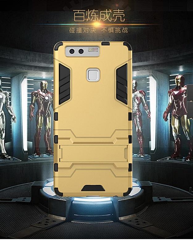 (394-023)เคสมือถือ Case Huawei P9 เคสกันกระแทกขอบนิ่มพร้อมขาตังโทรศัพท์ในตัวทรง IRON MAN