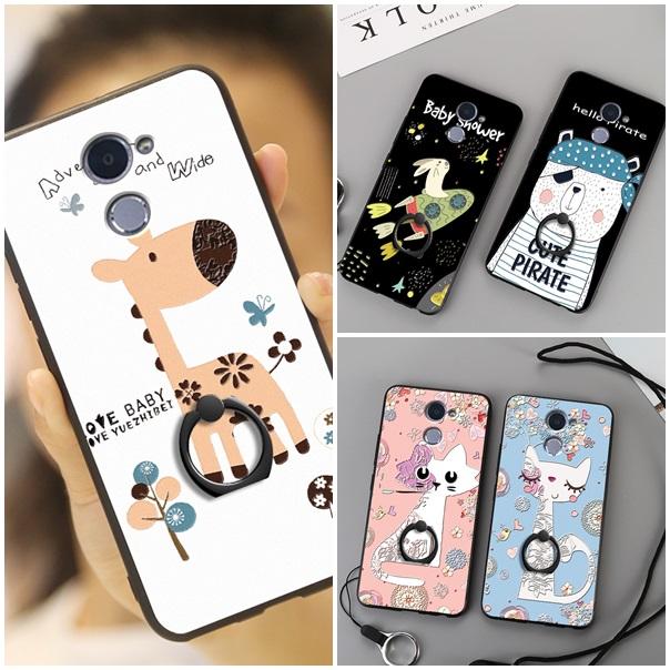 (025-870)เคสมือถือ Case Huawei Y7prime เคสนิ่มลายการ์ตูนเกาหลีน่ารักๆ พร้อมสายคล้องคอแบบถอดแยกได้