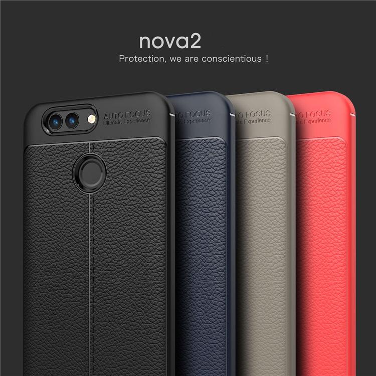 (025-822)เคสมือถือ Case Huawei Nova 2 เคสนิ่มซิลิโคนลายหนังสไตส์เรียบหรู
