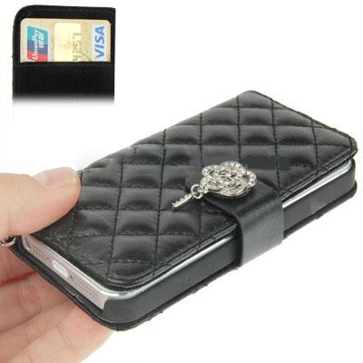 Case เคส Plaid Diamond Flower Button Flip iPhone 5(Black)