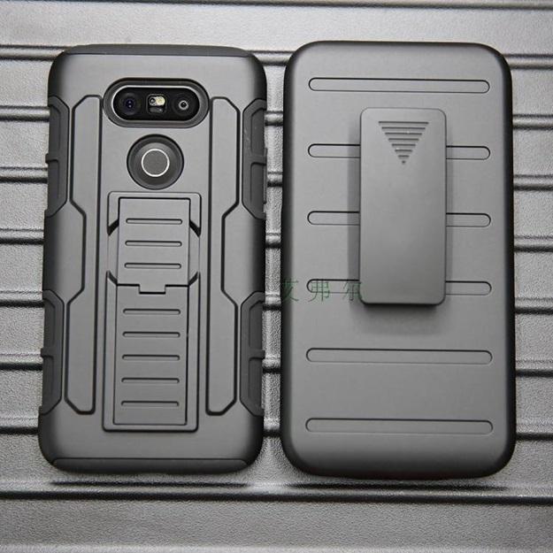 (002-119)เคสมือถือ Case LG G5 เคสนิ่ม+พื้นหลังประกบแบบพลาสติก+มีขาตั้ง+ที่เหน็บเอวสไตล์กันกระแทก