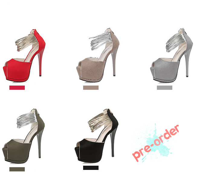 รองเท้าส้นสูง ไซต์ 34-39 สีดำ,แดง,เทา,น้ำตาล,เขียวขี้ม้า