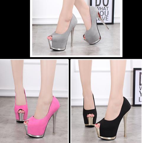 รองเท้าส้นสูง ไซต์ 34-39 สีดำ สีเทา สีชมพู