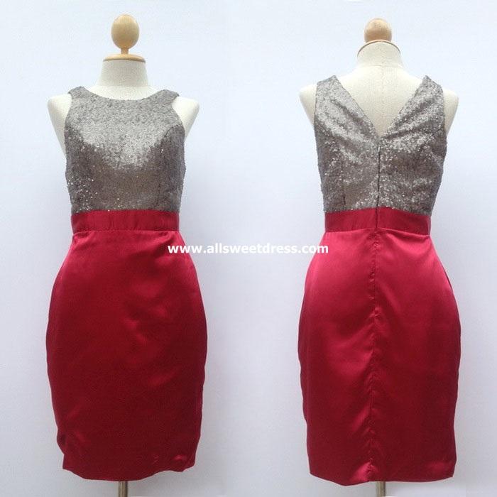 เช่าชุดราตรีทรงสอบเข้ารูป ท่อนบนเลื่อมเทาเงินตัดกระโปรงผ้าซาตินแดงวาวสวยหรู