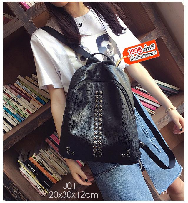 J01 PU XXXX เป๋าเป้ หนัง PU ดำ
