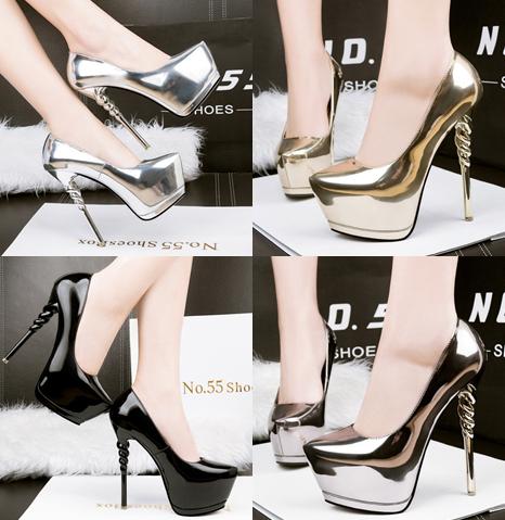 รองเท้าส้นสูง ไซต์ 34-39 สีดำ/เงิน/ทอง/เทา