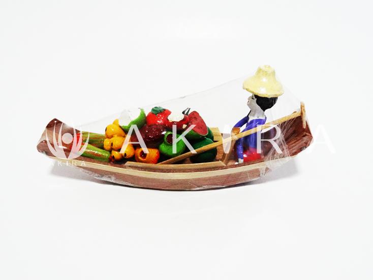 ของขวัญไทย งานปั้นดินไทย เรือแจวขายผลไม้ S