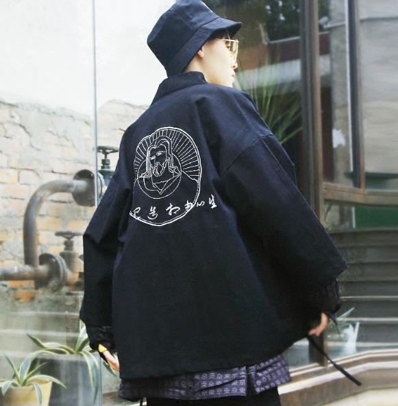 *Pre Order*เสื้อกิโมโนชายแฟชั่นญี่ปุ่น/Yokosuka ผ้าฝ้ายสีดำ size M-2XL