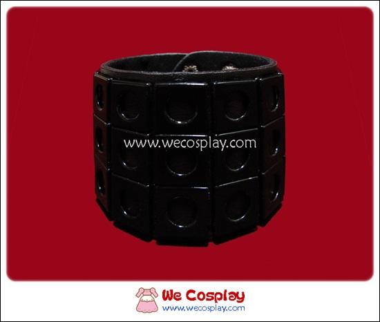 สร้อยข้อมือพังค์ Punk Wristband ตอกหมุด 3 แถว สีดำ