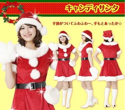 xm011 ชุดแซนตี้ ชุดซานต้าสาว แบบแซก คอปก มีแขน พร้อมเข็มขัดและหมวกคะ