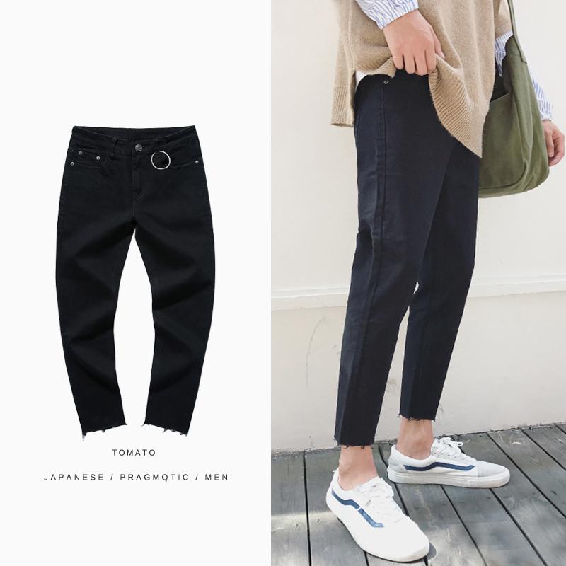 *Pre Order*กางเกงแฟชั่นชาย ผ้ายีนส์นิ่ม,ทรง Slim feet สีดำ size S-2XL
