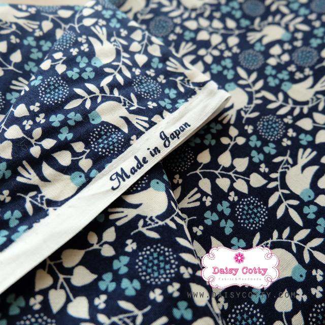 ผ้าคอตตอนญี่ปุ่นแท้ 100% 1/4 เมตร (50x55 cm.) ลายนกพิราบสีขาว