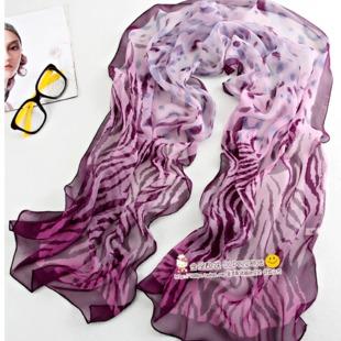 ผ้าพันคอผ้าPolyester+ผ้าไหม เสือดาวสีม่วงเข้ม ( รหัส P91 )