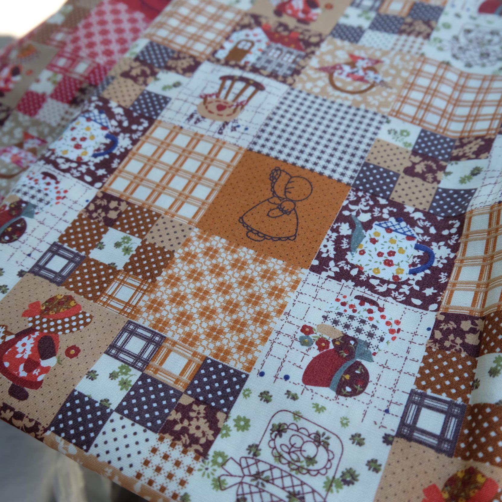 ผ้าคอตตอนไทย 100% 1/4 ม.(50x55ซม.) ลายต่อผ้าน้องซูโทนสีน้ำตาล