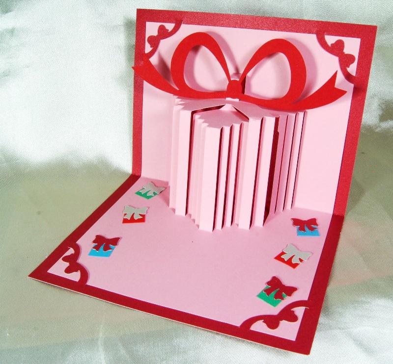 A39 การ์ดป๊อปอัพไดคัท กล่องของขวัญสีชมพู