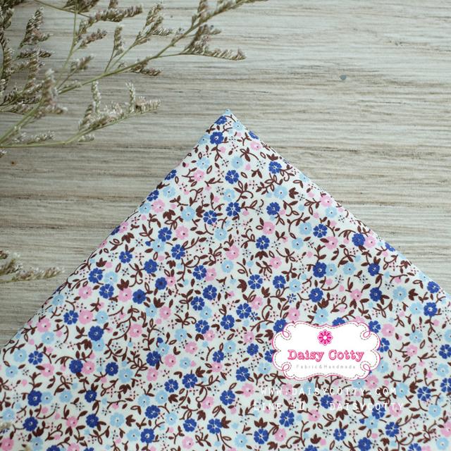ผ้าคอตตอนไทย 100% 1/4 ม.(50x55ซม.) พื้นสีขาว ลายดอกไม้เล็ก