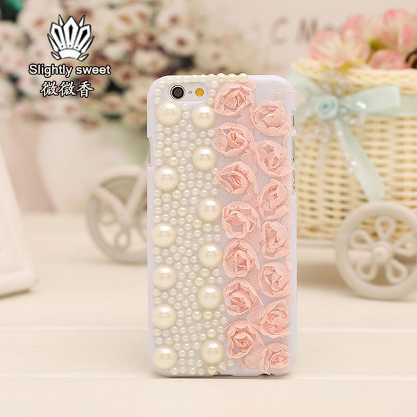 เคสไอโฟน 4/4s กรอบขาวประดับมุกและดอกไม้ชมพู