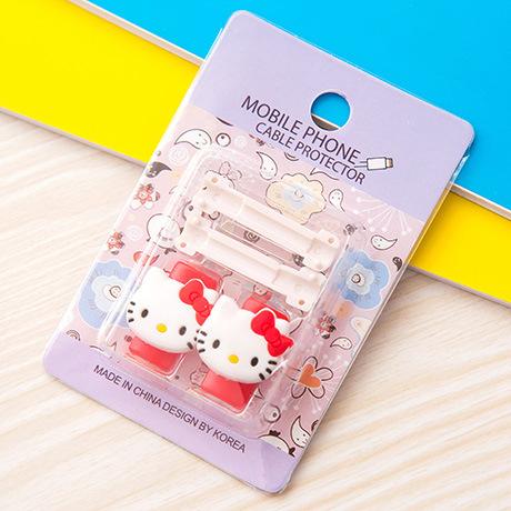 อุปกรณ์ถนอมหูฟัง/สายชาร์จโทรศัพท์มือถือ Hello Kitty สีแดง (1 Pack/1 คู่)