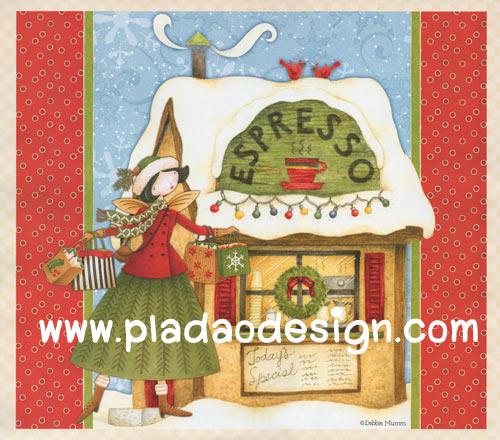 กระดาษสาพิมพ์ลาย สำหรับทำงาน เดคูพาจ Decoupage แนวภาำพ การ์ตูน นางฟ้าน้อย นักดื่มกาแฟตัวยง Christmas นี้เลือกดื่ม espresso (ปลาดาวดีไซน์)