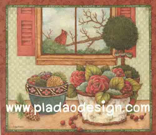 กระดาษอาร์ตพิมพ์ลาย สำหรับทำงาน เดคูพาจ Decoupage แนวภาำพ นกน้อยตัวสีแดงเกาะกิ่งไม้อยู่นอกหน้าต่าง ที่มีโต๊ะวางตระกร้าใส่ดอกไม้อยู่ข้างๆ (ปลาดาวดีไซน์)