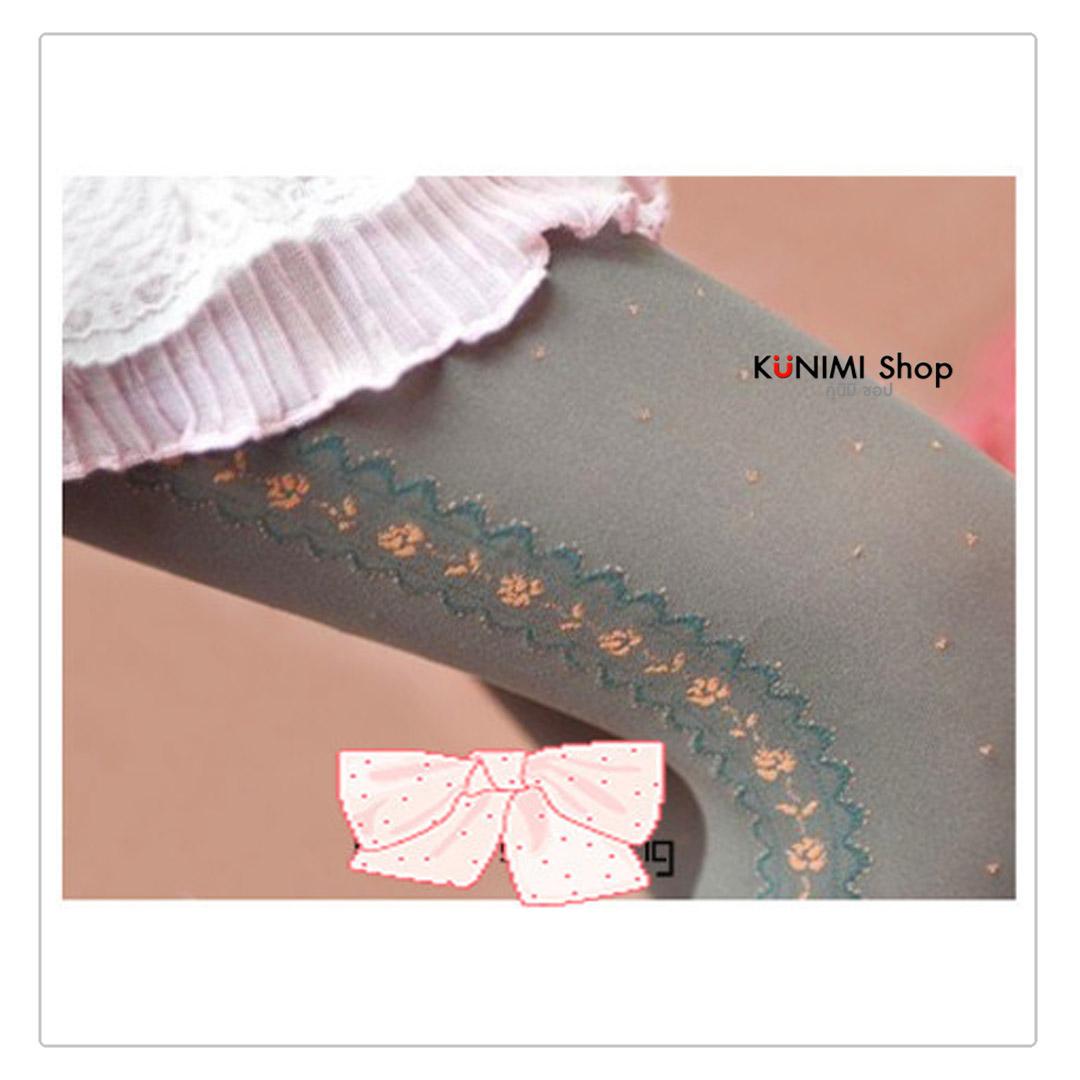 ถุงน่องแบบเต็มตัว ด้านข้างประดับดอกไม้ สวยหวาน น่ารัก           ขนาด :   FREE SIZE        มี  2 สี  :  สีดำ  สีเทา